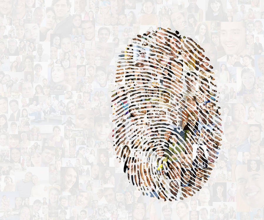 Collage Of Faces In Fingerprint Photograph by John M Lund Photography Inc