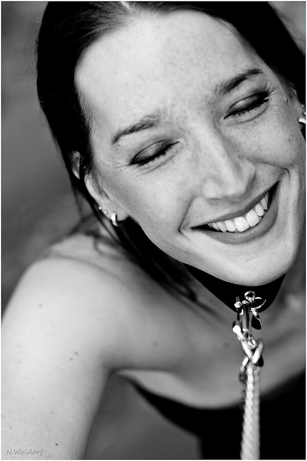 Collared Girl Laughing Photograph By Norbert Waldorf