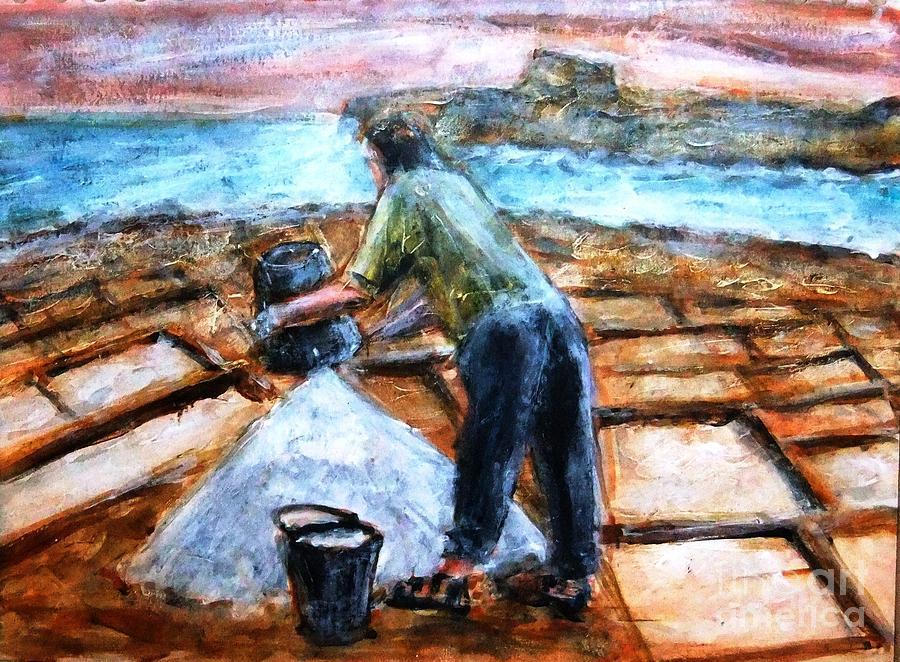 Luzzu Luzzijiet Firilla Firilli Waves Sunset Net Xibka Marsalforn Sajjied Bahar Mewg Sea Malta Gozo Ghawdex Maltese Ghawdxijin Ghawdxija Gzejjer Island Gzira Fishing Boat Sajjieda Sajd Xibka Xbiek Maltemp Bnazzi Xemx Shab Maltemp Salt Pans Qbajjar Melh Salt  . The Location Is Xwejni Bay Marsalforn . Painting - Collecting Salt At Xwejni Gozo by Marco Macelli