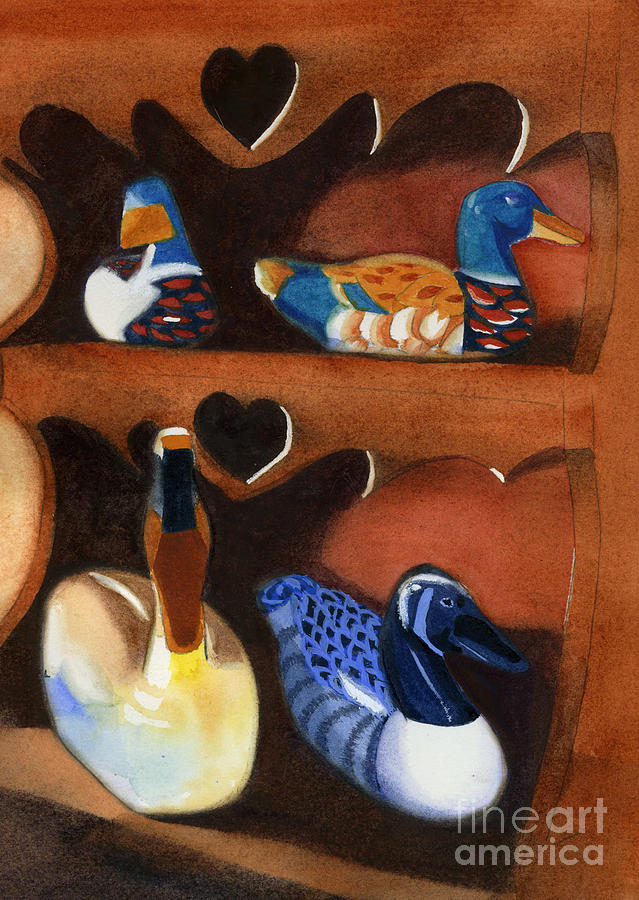 Ducks Painting - Collection Of Ducks by Teresa Boston