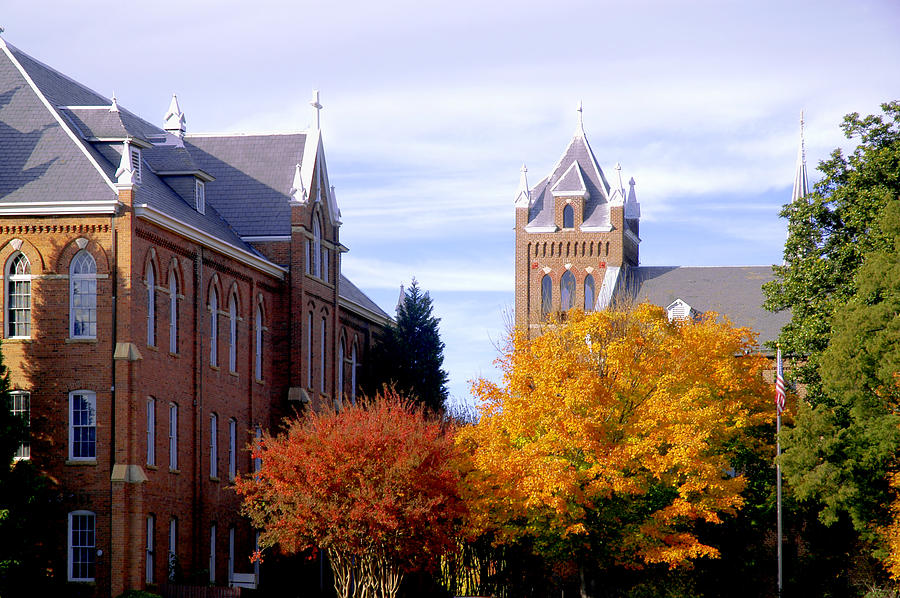 College campus during fall with changing trees Photograph by Bauhaus1000