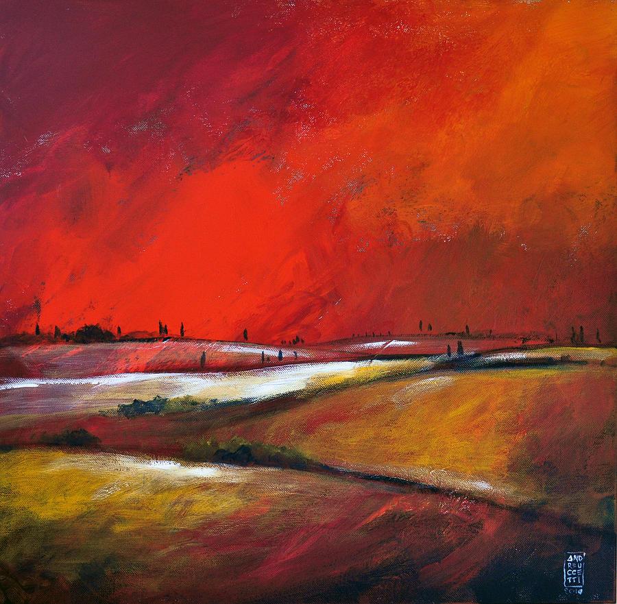 Hills Painting - Colline Sotto Il Cielo Infuocato by Alessandro Andreuccetti