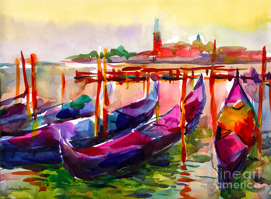 Coloful Venice Boats painting by Svetlana Novikova