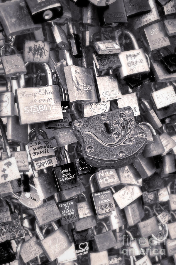 Cologne Photograph - Cologne - Hohenzollern Bridge - Gypsy Locks - Black And White by Gregory Dyer