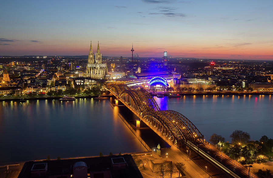 Cologne At Night  Köln Bei Nacht Photograph by Maximilian Müller
