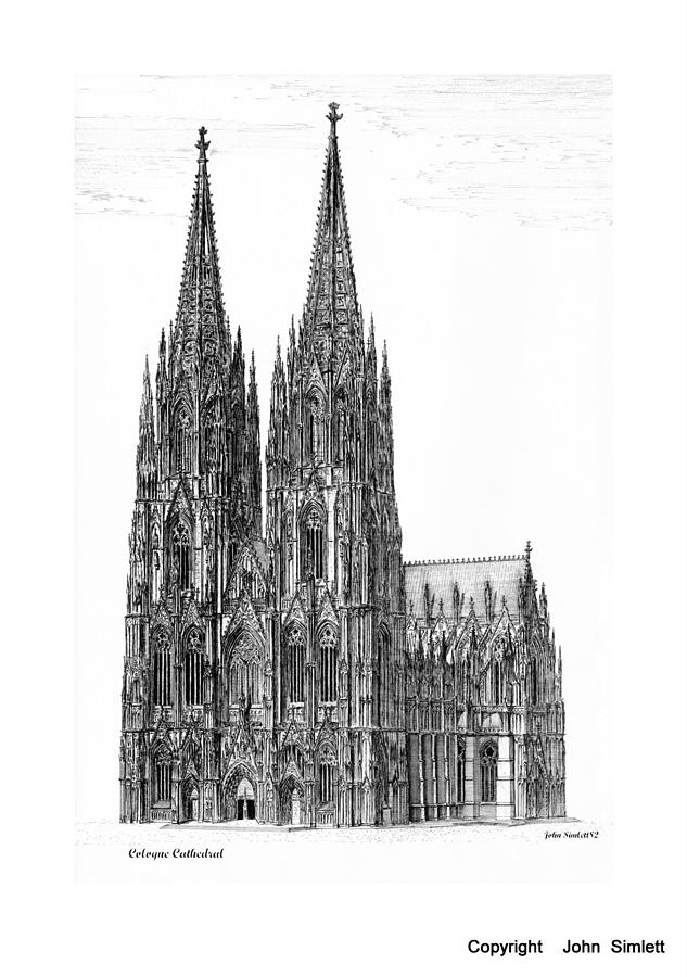 Cologne Cathedral Drawing By John Simlett