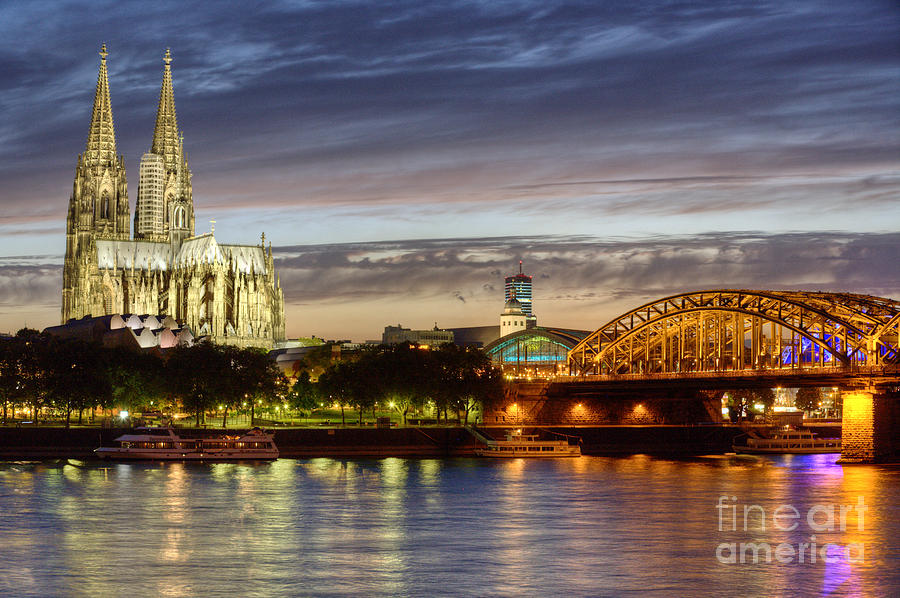 Cologne Photograph - Cologne Cathedral With Rhine Riverside by Heiko Koehrer-Wagner