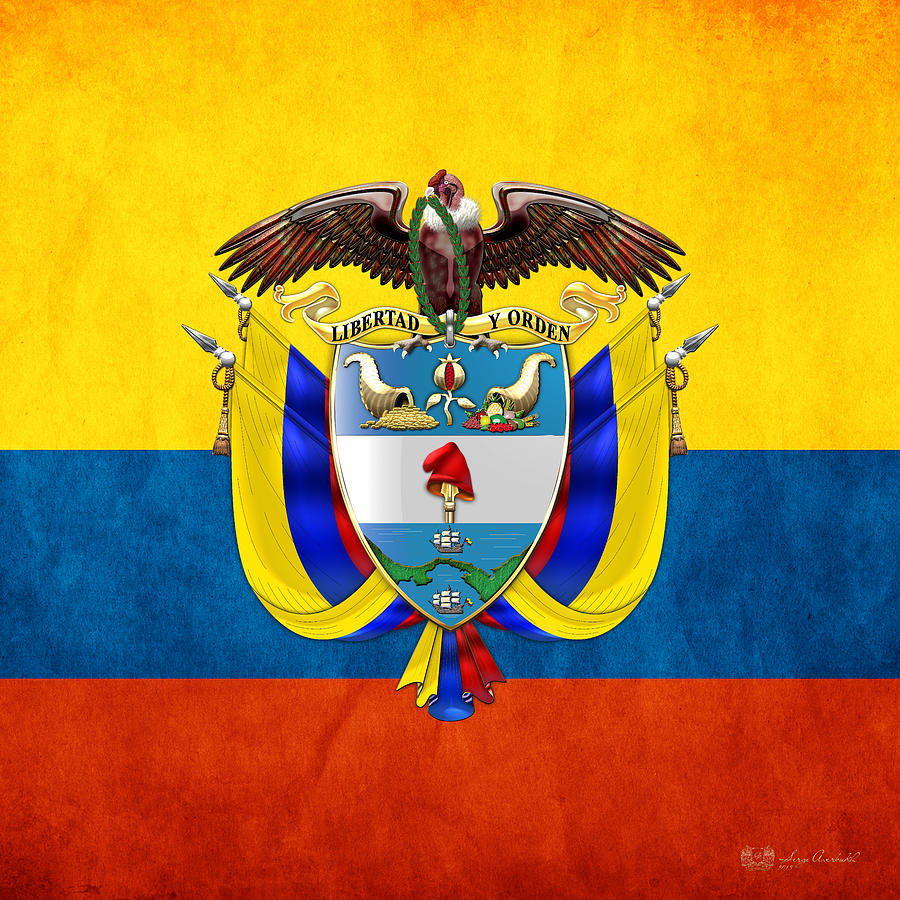 Colombia Coat Of Arms And Flag Digital Art By Serge Averbukh