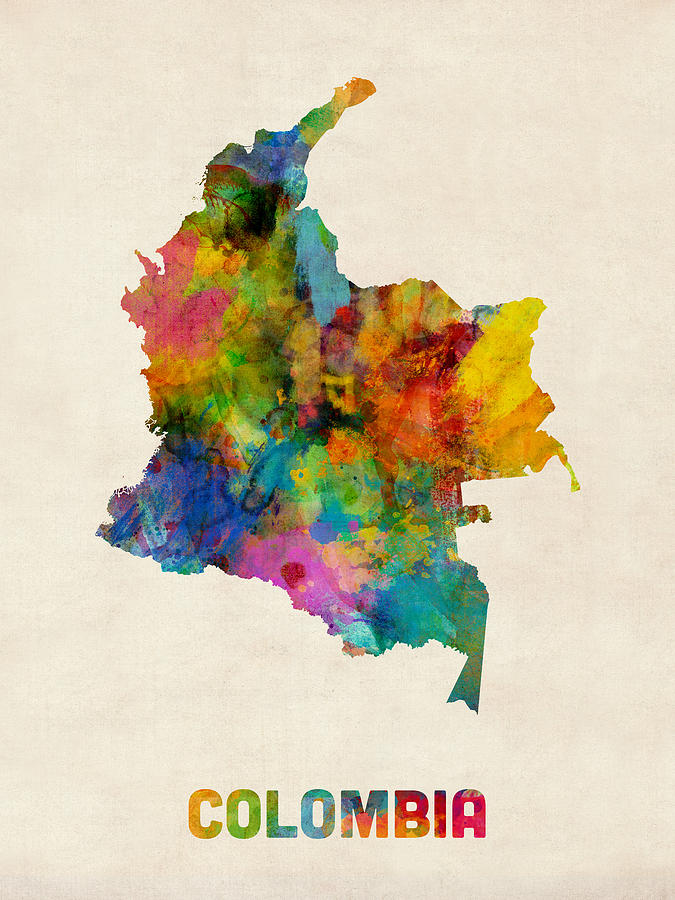 Urban Digital Art - Colombia Watercolor Map by Michael Tompsett