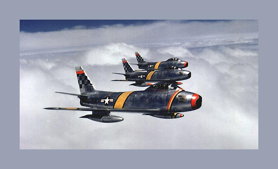 F 86 Saber Super Jet Fighter Us Plane Usa Century Fighters Air Force Military Korean War 1951 Photograph - Colonel Ben O. Davis Leads Flight F 86 Sabres Over Korea Small Border  by L Brown