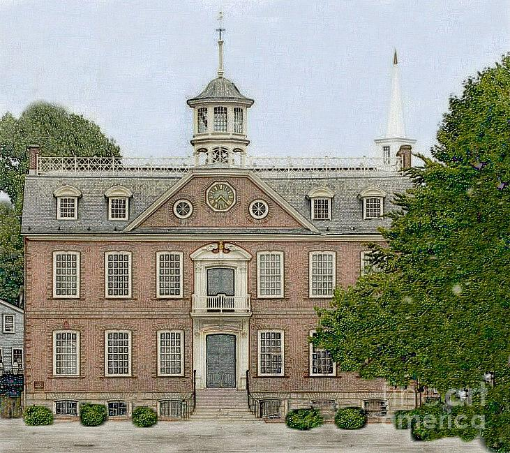 Diane Berry Drawing - Colonial Court House Newport Rhode Island by Diane E Berry