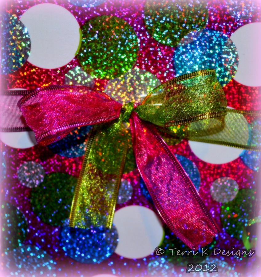 Christmas Photograph - Color Bow Dots by Terri K Designs