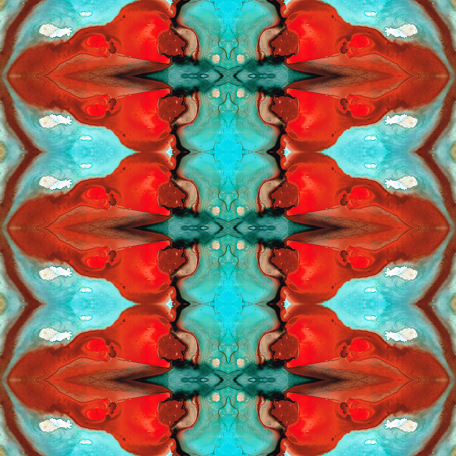 Abstract Painting - Color Chant - Red and Aqua Pattern Art By Sharon Cummings by Sharon Cummings