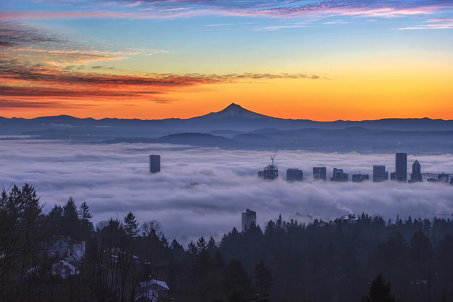 Sunrise Photograph - Color Fog Mountain by David Gn