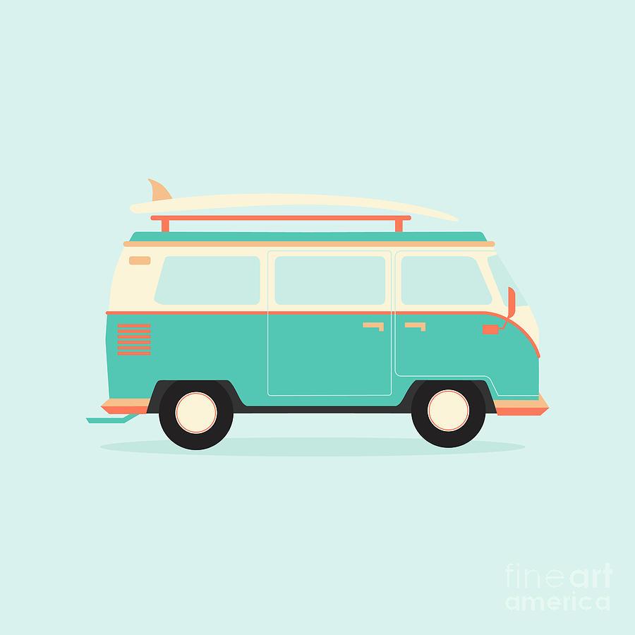 Bus Digital Art - Color Full Surfer Van Transportation by Guaxinim