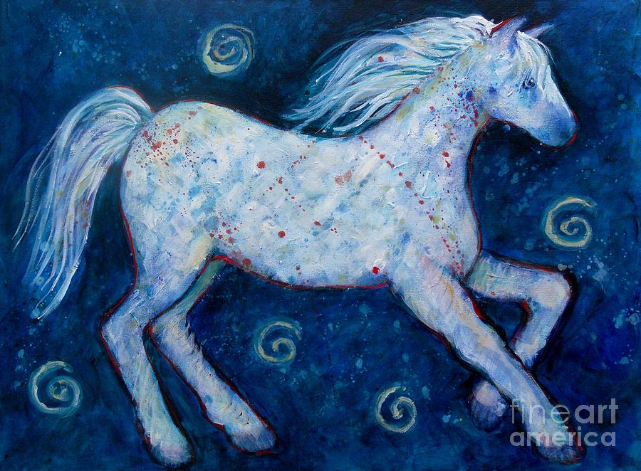 Color Horse Blue Go Running Painting