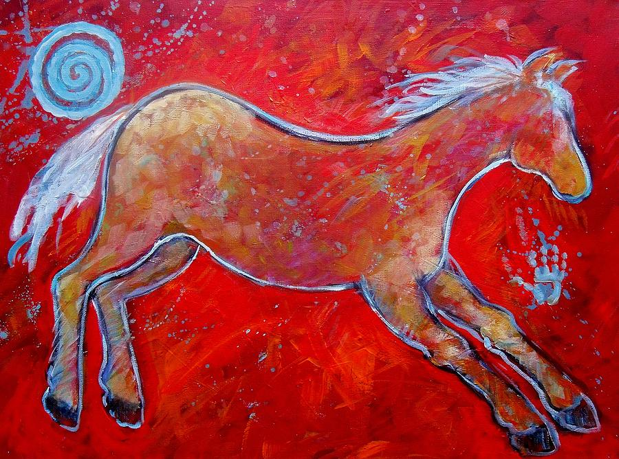 Color Horse Red Running Lll Painting