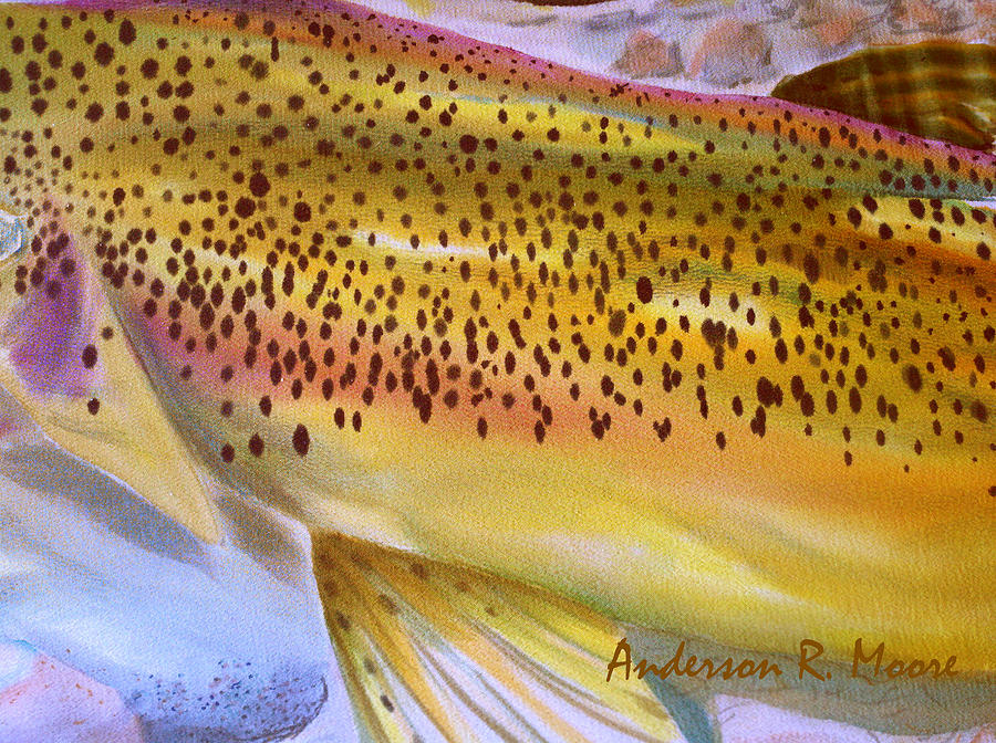 Trout Mixed Media - Color Me Trout- Brown by Anderson R Moore