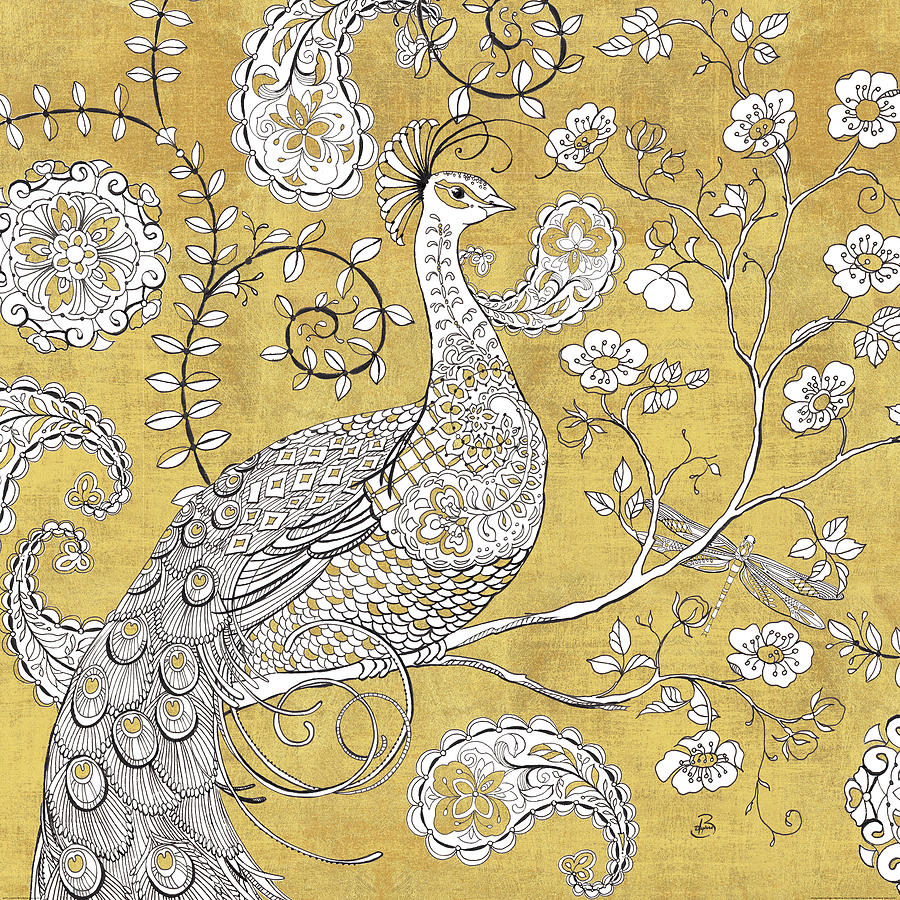 Animal Painting - Color My World Ornate Peacock I Gold by Daphne Brissonnet
