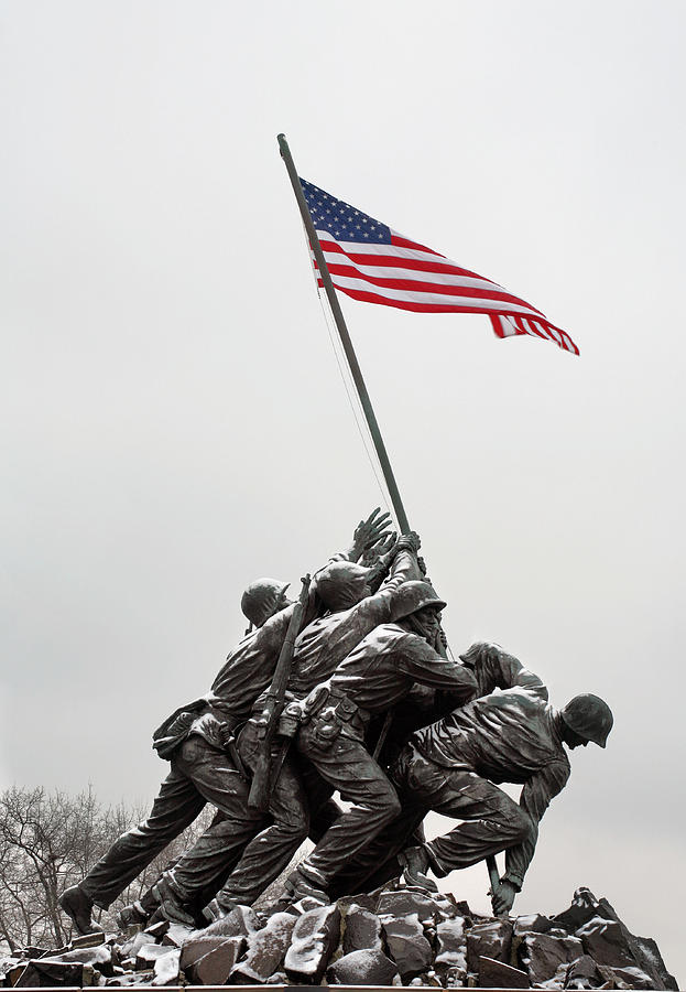 Marine Corps Memorial Photograph - Color On A Grey Day by JC Findley