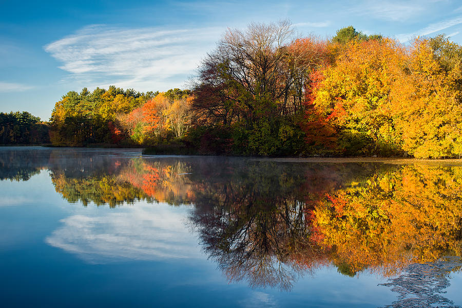 Massachusetts Photograph - Color On Grist Mill Pond by Michael Blanchette