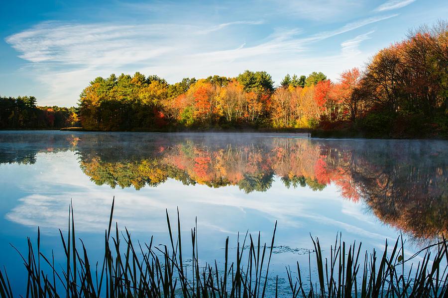 Massachusetts Photograph - Color On Grist Millpond by Michael Blanchette