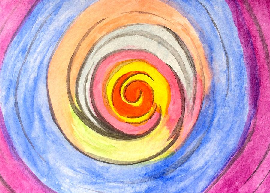 Watercolor Painting - Color Spiral 5-25-2014 by Mark Bray
