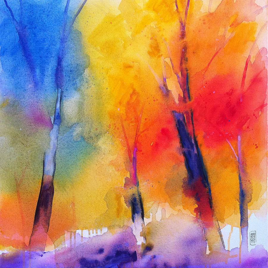 Trees Painting - Color symphony of the wodd by Alessandro Andreuccetti