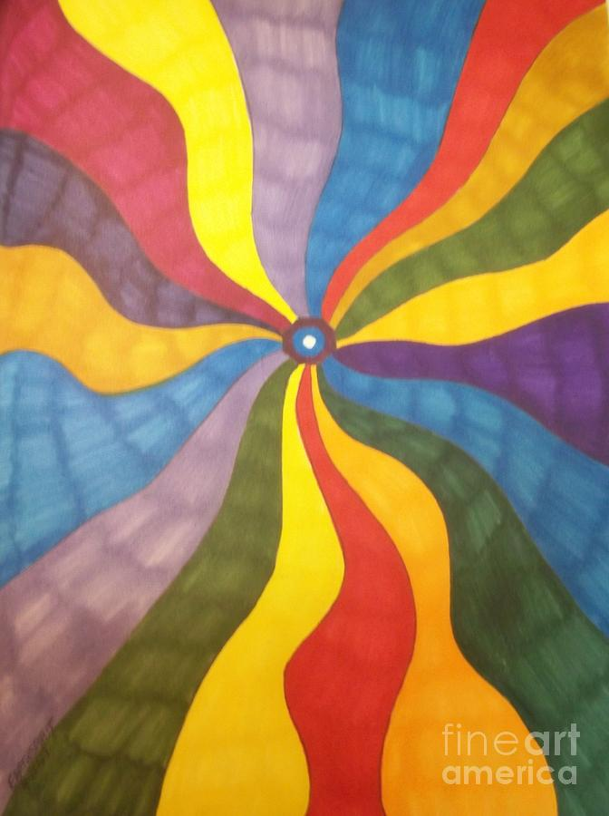Mandala Drawing - Color Wave by Janet Berch