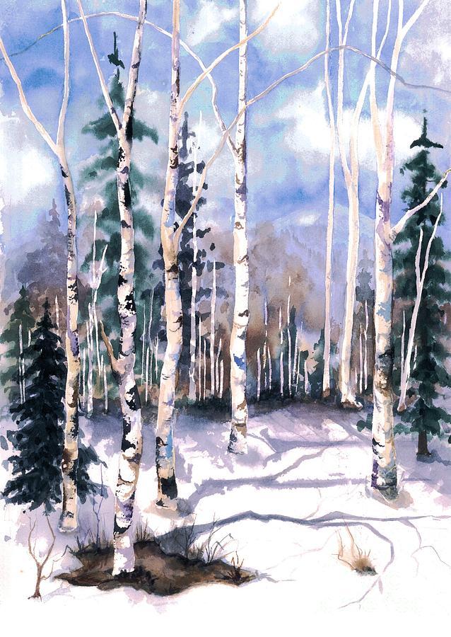 Barbara Jewell Painting - Colorado Aspens 2  by Barbara Jewell