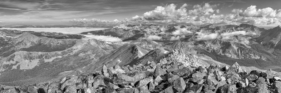 Colorado Black And White Images - Panorama From The Summit Of Mo Photograph