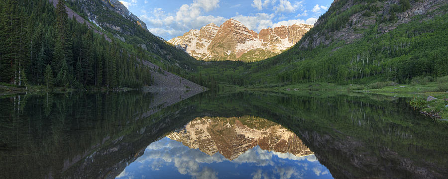 Colorado Images - Maroon Bells Morning Panorama Photograph