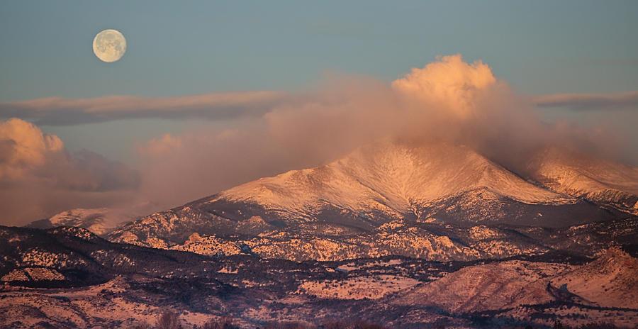 Colorado Rocky Mountain Full Moon Set Panorama Photograph