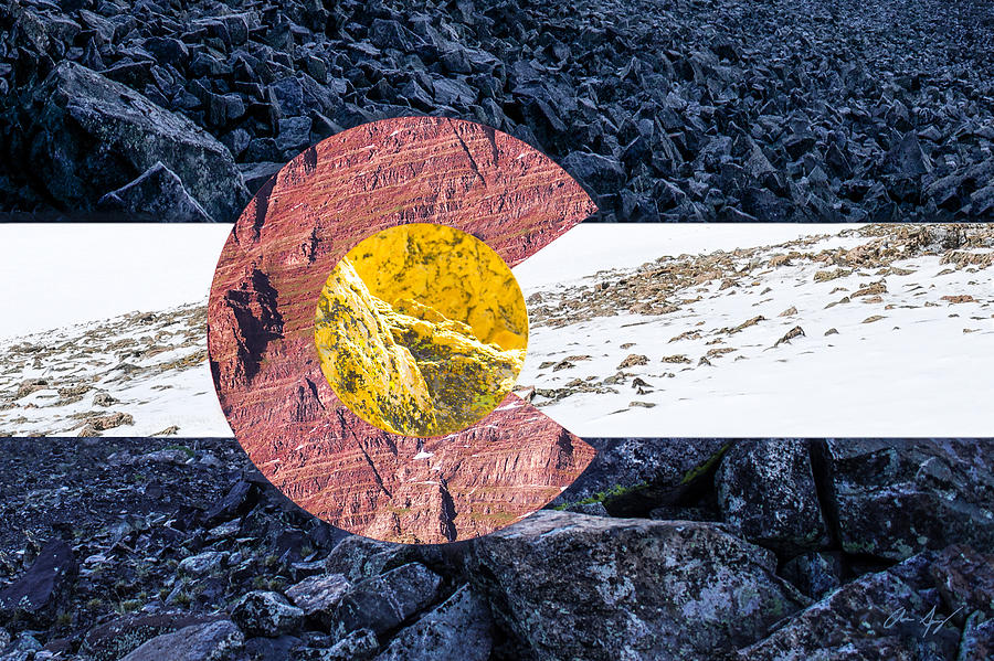 Colorado Photograph - Colorado State Flag With Mountain Textures by Aaron Spong