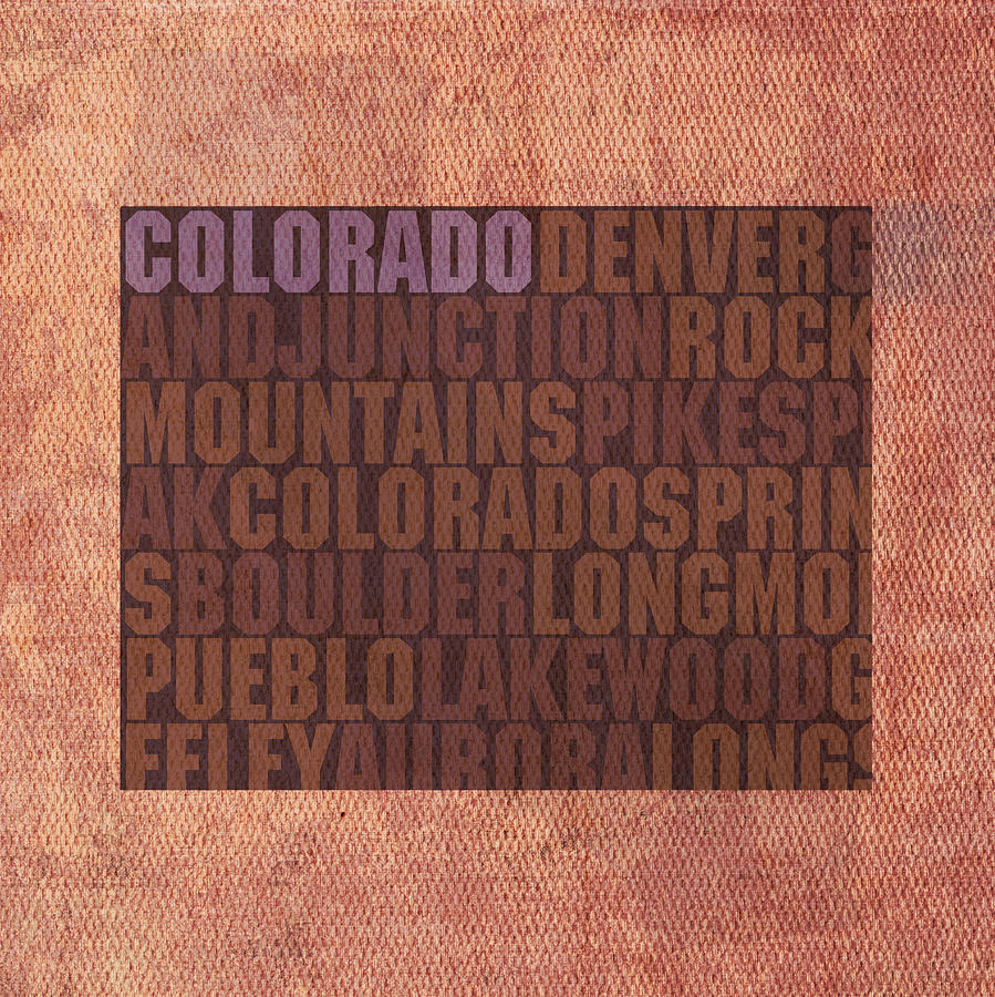 Colorado Word Art State Map On Canvas Mixed Media by Design Turnpike