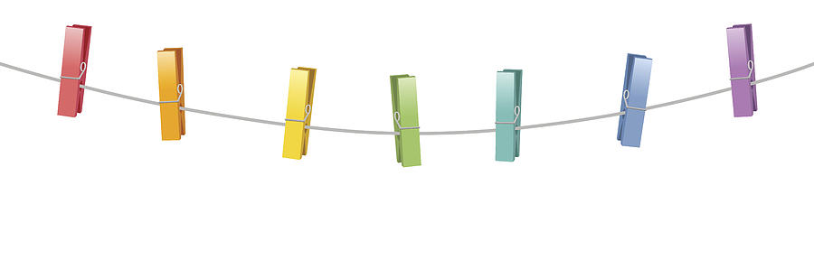 Colored Clothes Pins Clothes Line Rope by PeterHermesFurian