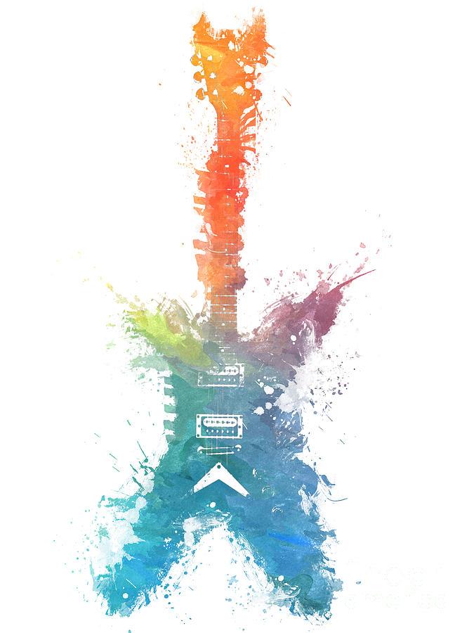 Guitar Digital Art - Colored Fender Guitar by Justyna Jaszke JBJart