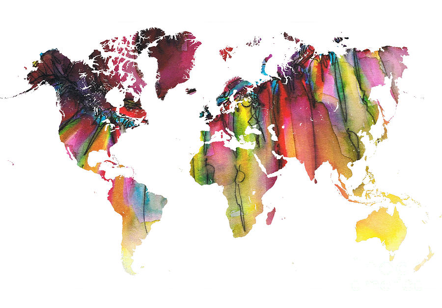 Map Of The World Painting - Colored Map of the world by Justyna Jaszke JBJart