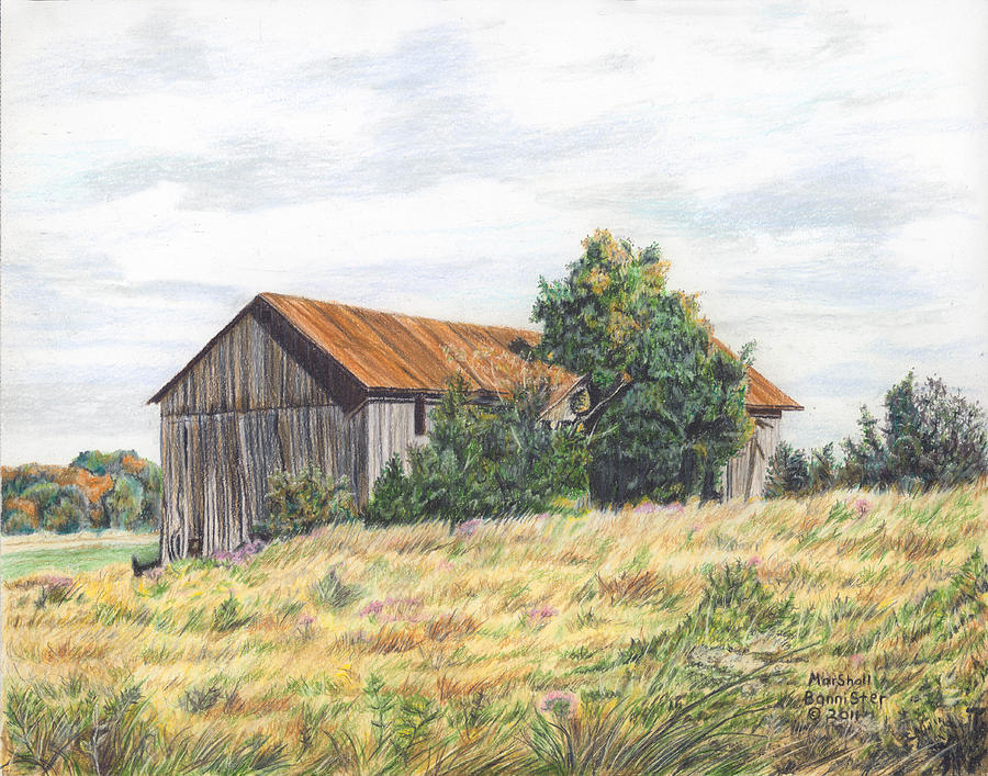 Barn Drawing - Colored Pencil Barn by Marshall Bannister