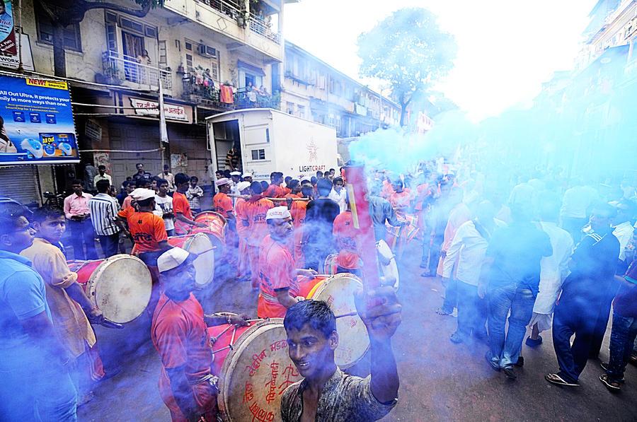 India Photograph - Colored Smoke by Money Sharma