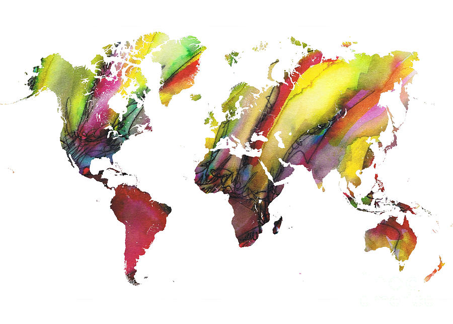 Map Of The World Painting - Colored world map by Justyna Jaszke JBJart