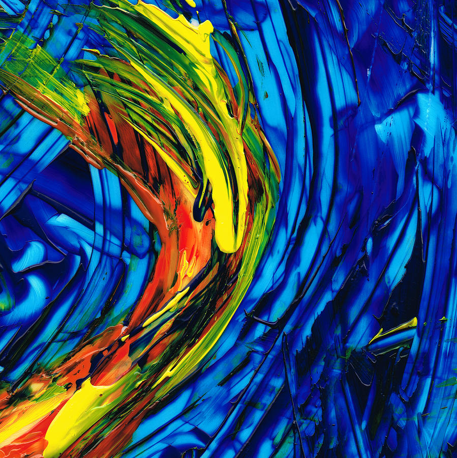 Blue And Yellow Painting - Colorful Abstract Art - Energy Flow 2 - By Sharon Cummings by Sharon Cummings