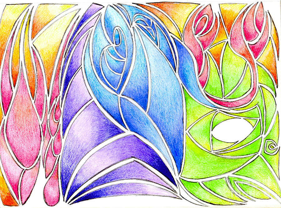Pencil Drawing - Colorful Abstract Drawing by Minding My  Visions by Adri and Ray