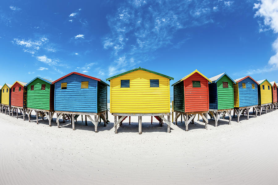 Colorful Beach Huts Fisheye View Photograph by Mlenny