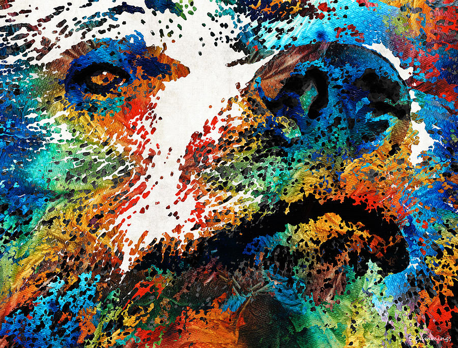 Bear Painting - Colorful Bear Art - Bear Stare - By Sharon Cummings by Sharon Cummings