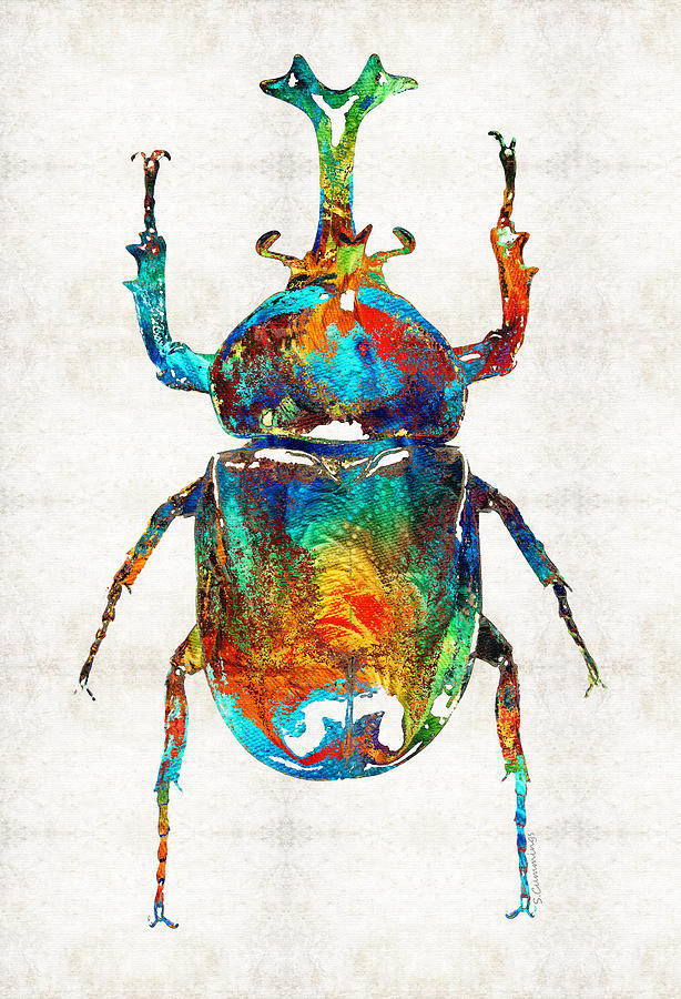 Colorful beetle art scarab beauty by sharon cummings for Egyptian fresco mural painting