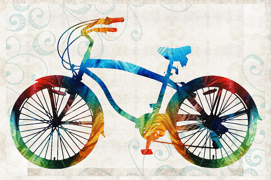 Bike Painting - Colorful Bike Art - Free Spirit - By Sharon Cummings by Sharon Cummings