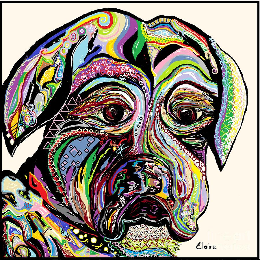 Dog Painting - Colorful Boxer by Eloise Schneider