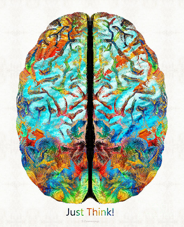 colorful brain art just think by sharon cummings