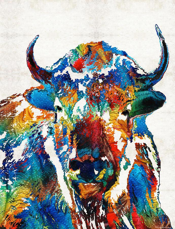 Colorful Buffalo Art Sacred By Sharon Cummings